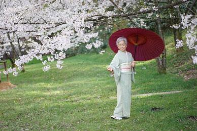 レイキ 桜 着物 番傘