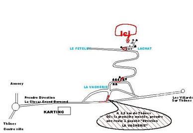 Plan d'accès Coordonnées GPS :Lat X Long :45.907405 x 6.354891