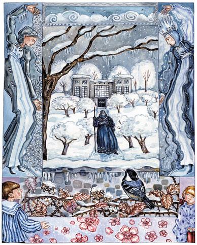 Jugendstil-Illustration Winter im Garten Kinderbuch