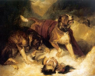 """Alpine mastiffs resuscitating a traveler in distress"" by Edwin Lardseer"