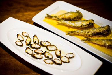Pulpo a la brasa y sardinas en escabeche
