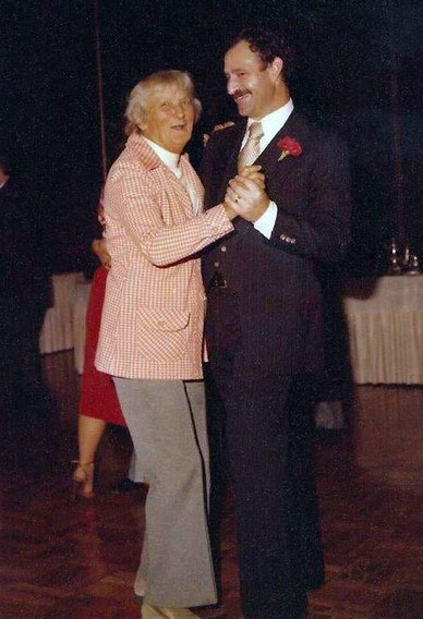 Agnes Baron dancing with Sam Ervin at his wedding to Margaret Magnus, November 1979