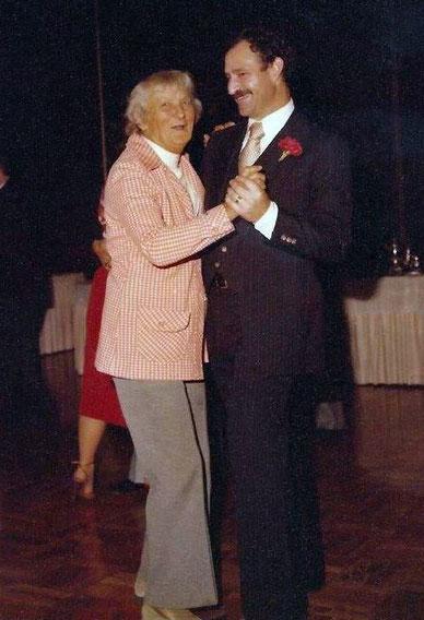 Agnes Baron dancing with Sam Ervin at his wedding to Margaret Magnus, November 1979