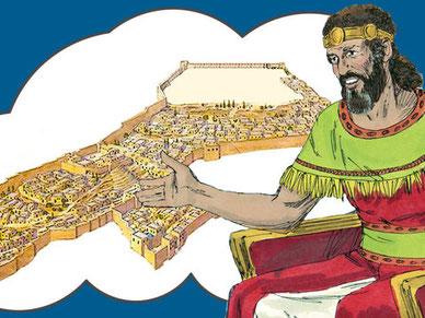 David confie à Salomon les plans qui lui avaient été révélés par l'esprit saint pour la construction du Temple : les différents bâtiments, pièces, mobilier, autels, ustensiles.