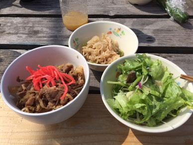 今日は牛丼、切り干し大根とサラダ!