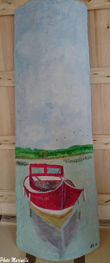 """JLA Artiste Peintre - """"Pinasse rouge AC 151 au large"""" 013 - Peinture sur tuile ostréicole (Bassin d'Arcachon)"""