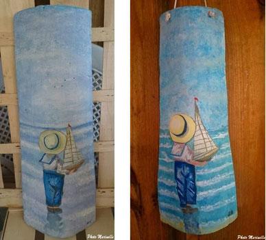 """JLA Artiste Peintre - """"Petit garçon au voilier"""" 008 - Peinture sur tuile ostréicole (Bassin d'Arcachon)"""