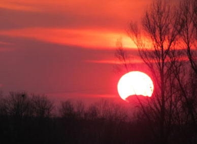 Sonnenuntergang am Niederrhein am Ufer der Niers