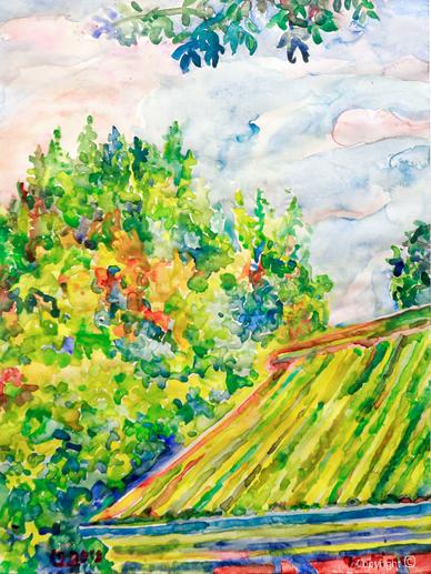 Bettina Heinen-Ayech ( 1937-2020) - Das Dach des Roten Hauses, Aquarell, 2018