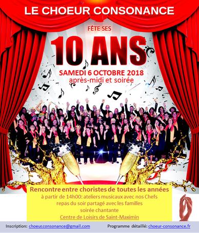 Le choeur Consonance de Pontcharra fête ses 10 ans - samedi 6 octobre 2018