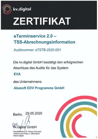 Praxissoftware Praxis Software Praxisprogramm Praxis Programm Softwarefür Praxis Arztsoftware PVS Zertifizierung eTerminservice 2.0 TSS-Abrechnungsinformation