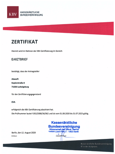 Praxissoftware Praxis Software Praxisprogramm Praxis Programm Software für Praxis Arztsoftware PVS Zertifizierung eArztbrief