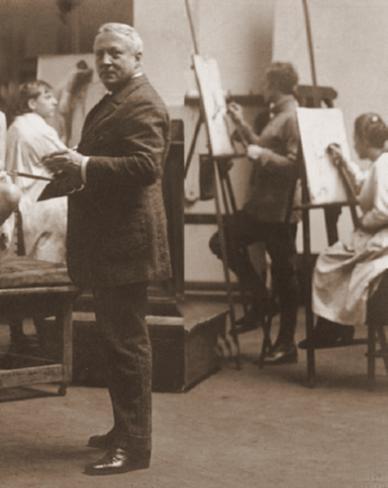 Der Maler Richard Müller (1874–1954) mit Modell im Atelier. Foto von Hugo Erfurth (Gelatinesilberabzug matt. 16 x 23 cm)