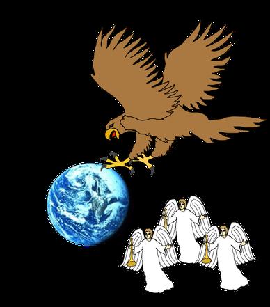 L'aigle de l'Apocalypse qui volait très haut dans le ciel et qui avait annoncé : « Malheur, malheur, malheur ! » aux habitants de la Terre à cause des 3 dernières sonneries de trompette !