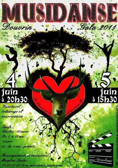 affiche du gala de danse Musidanse les 4 et 5 juin 2011: spectacle de 200 enfants et adultes