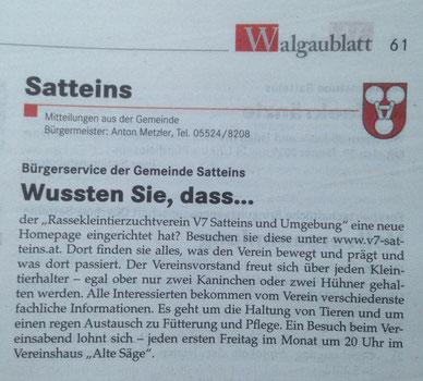 Artikel Walgaublatt