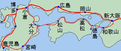 南海道、日豊ミニ新幹線の路線イメージ