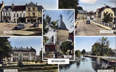 Carte postale multi-vues de Rémalard années 50