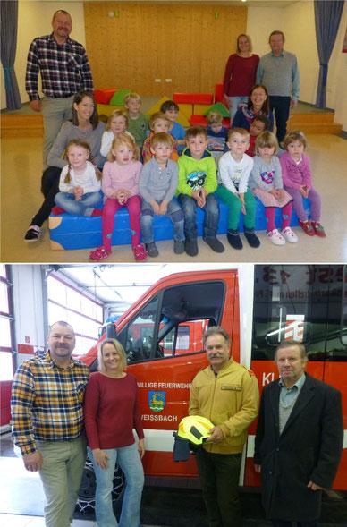 Bild: Privat | Oben: Die neue viel geliebte Turnmatte der Kindergartenkinder | Unten: Der neue Feuerwehrhelm des Einsatzleiters