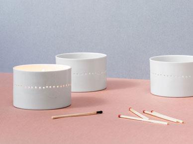 Windlicht perforiert Porzellan große Teelichter Teelicht