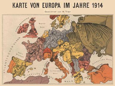 Mapa satíric d'Europa durant la Primera Guerra Mundial