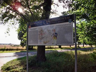 Informationstafel nahe des Zorndorfer Schlachtfeldes