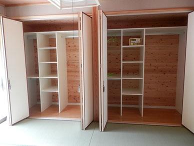 和室の主寝室の収納例