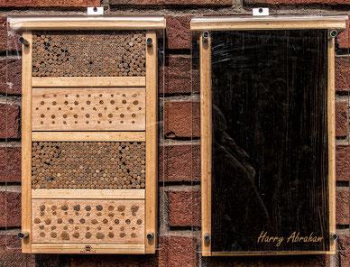 Spechtschaden Vogelschutz Nisthilfen Insektennisthilfen Insektenhotel Aufgehackte Halme  bee hotel insect hotel Wildbienen wild bee