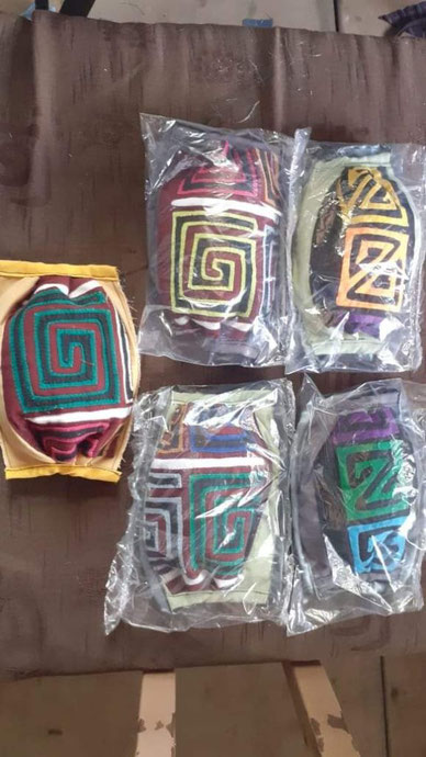 Protective masks with traditional Mola motifs made by the Gunas women (Source Personal Communication of Blas Lopez)