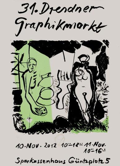 Dieter Goltzsche, Plakat 31. Dresdner Graphikmarkt , 2012,  Siebdruck in zwei Farben, 70 x 50 cm