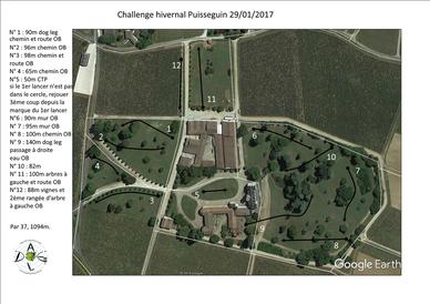 Plan du parcours du Challenge Hivernal 2017 de DGAL