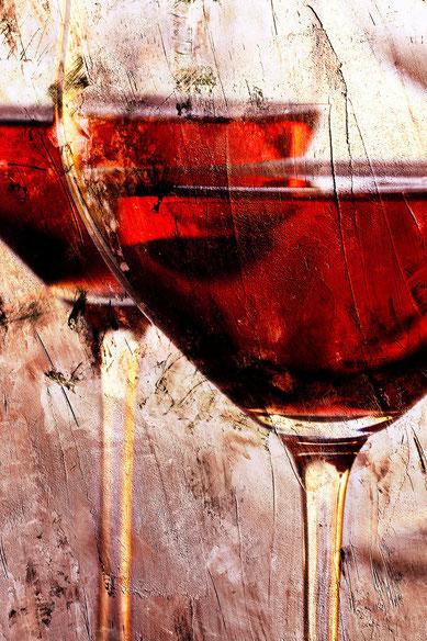 Weingläser 13 auf Leinwand