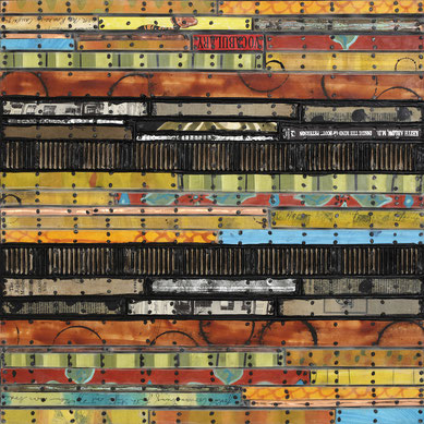 "Nancy Natale, ""Right Vocabulary,"" mixed media on panel, 24 x 24 inches, SOLD"