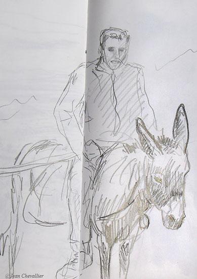 Berger sur son âne, Turquie. Croquis Jean Chevallier