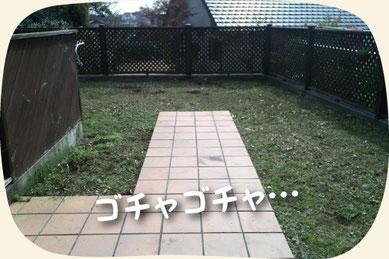 工事(芝生張り)前:雑草だらけのお庭