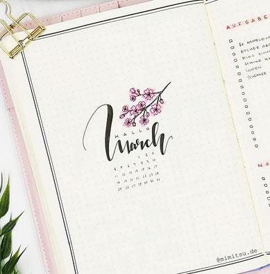 Monthly Cover March - Monat März - Kirschblüten - Sakura - cherry blossom