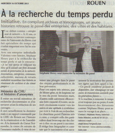 Article Paris Normandie (mardi 16 octobre 2013)