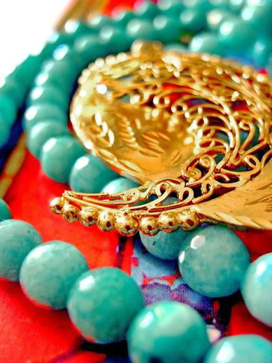 Ama: aqua-blue, amazonite necklace with 24kt, gold-dipped, silver, filigree pendant; close-up of beads and small ballsedge