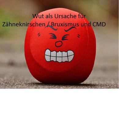 kleiner roter Ball mit Gesicht fletscht aus Wut die Zähne, Zähneknirschen, Stress und Entspannung, EMDR, Trauma-Therapie, PTBS, Rosacea, Neurodermitis, Psoriasis, Psychotherapie