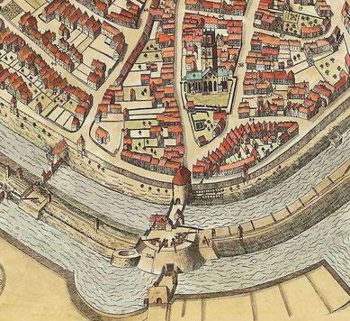 Befestigungsanlage der Ludgeripforte (heute Ludgeriplatz),  darüber die Ludgerikirche