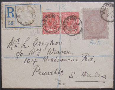 A registered cover from Lundy to South Wales. Dated 18th August 1911.