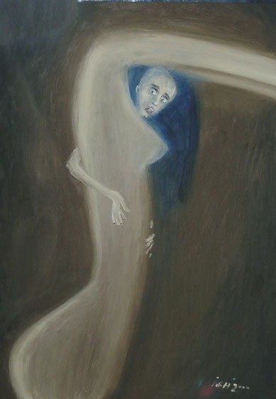 "titel: ""körperzwang"" (gemalt: selbst), öl auf hartfaser, 50x70 cm, 2000"