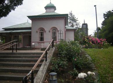 八幡山の洋館 階段脇 2017年5月25日 右下 白いバラ 「シュ シュ」2009年 河本バラ園(寄贈)  右中段から奥はイングリッシュローズのコーナー