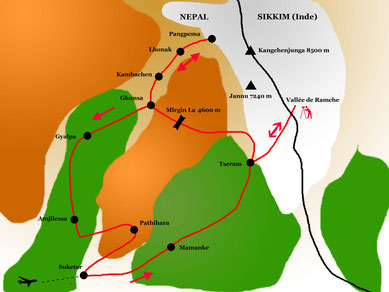 itinéraire du trek du Kangchenjunga