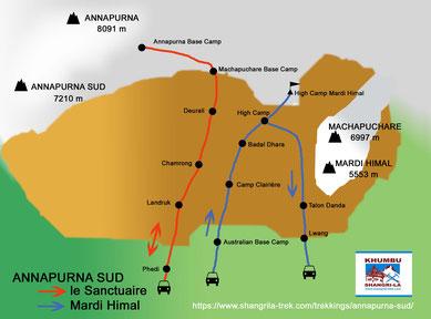 Parcours étapes Sanctuaire Annapurna et Mardi Himal