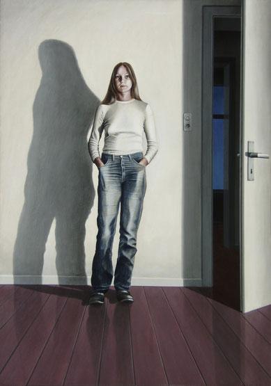 Im kalten Licht, 1977, Acrylmalerei auf Holzfaserplatte, 123/86 cm