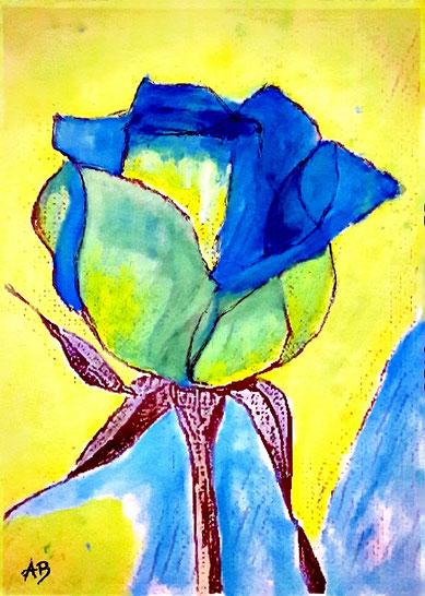 Rose, Ölgemälde, Blume, Stillleben, Abstrakt, Ölbild, Rosenblüte, Ölmalerei, moderne Malerei, Farbenfroh