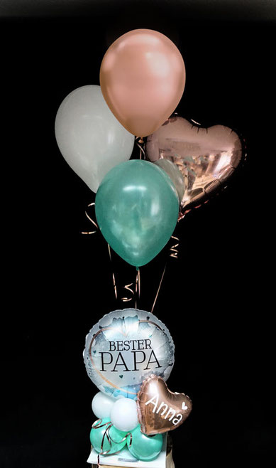 Ballon Luftballon Heliumballon Deko Dekoration Überraschung Mitbringsel Ballonpost Ballongruß Versand verschicken Geschenk Idee Ballonpost Bouquet Heliumballons bester papa  Herz zum Vatertag personalisiert
