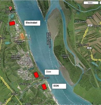 Standorte der geplanten 3 Kohlekraftwerke in Stade