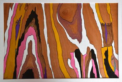Méandres colorés, n°1 , acrylique, posca et encre de Chine sur bois